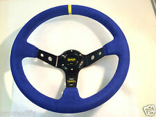 Universal OMP Rally Drifting Style 350mm Blue Suede Deep Dish Steering Wheel