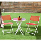 3 Pcs Folding Bistro Table Chairs Set Garden Backyard Patio Furniture Red New