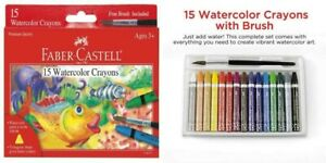 Faber-Castell Watercolor Crayons with Brush, 15 Colors - Premium Quality