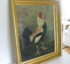 Antique Rooster Cockfighting Oil Landscape Painting Lemon Gold Frame