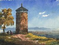 CONTINENTAL TOWER LANDSCAPE POSSIBLY GREECE Antique Watercolour Painting c1900