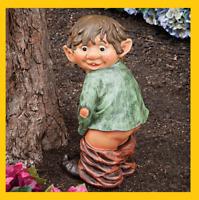 Naughty Garden Elf Statue His Pants Down, Funny Gnome Yard Art Polyresin Decor