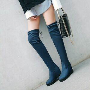 Women's Wedge High Heels Knee High Boots Faux Suede Platform Knight Boots Shoes