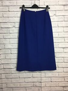 Vintage Electric Blue Jacques Vert Long Size 8 Skirt A line pleated front