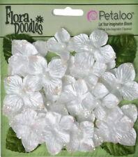 Hydrangeas WHITE 22 flower & leaf mix VELVET GLITTER 20-30mm Petaloo HYD