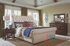 Sleigh Scroll Fabric Bed Frame Upholstered Chesterfield Chenille Plain Velvet