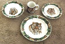 4 Pc. Set Tienshan Tiger Jungle Stoneware Dinner & Salard Plate Soup Bowl & Mug