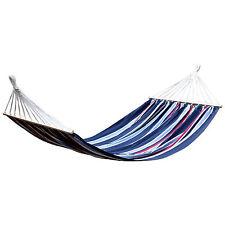 Amaca relax da giardino telo in cotone 150x200 fantasia rigata blu