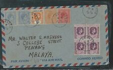 LEEWARD ISLANDS (P2906B)1950 KGVI 6D BL OF 4+1 1/2D+ ST KITTS 4 STAMPS TO MALAYA