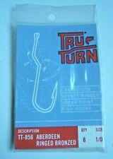 TRU-TURN TT-856 SIZE1/0 ABERDEEN BRONZED CAM ACTION FISH FISHING BAIT HOOKS 8pk