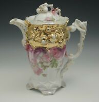 PORCELAIN EMBOSSED FIGURAL HEAVY GOLD  CHOCOLATE POT ANTIQUE c.1900 CONTINENTAL