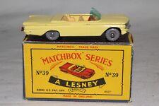 MATCHBOX LESNEY #39B PONTIAC CONVERTIBLE, YELLOW, MAROON BASE, GPW, BOXED TYPE C