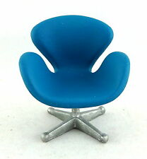 Dolls House Miniature Designer Furniture Collection Blue Swan Chair