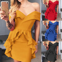 Women Off Shoulder Bodycon Fit Ruffle Mini Dress Evening Party Cocktail Clubwear