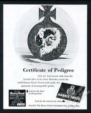 1952 merino sheep art Harris Tweed wool fabric vintage print ad