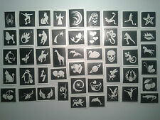 50 x stencils (mixed) for glitter tattoos / cakes / airbrush boys girls children