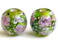 10pcs handmade Lampwork glass beads glass green plum flower round 14mm