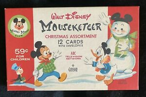 """Vintage WDP MICKEY MOUSE CLUB """"Mouseketeer"""" CHRISTMAS CARDS in BOX"""