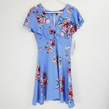 Almost Famous Womens Dress Size Medium Blue Floral Print Fit & Flare V Neck Zip