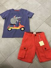 Mini Boden New With Tags Toddler Little Boy Sz 5 6 Tshirt Orange Shorts Outfit