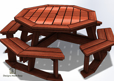 Easy DIY Octagon Picnic Table - Design Plans Instructions for Woodworking 04