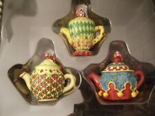 Mary Engelbreit Me Mini Teapot Christmas Ornaments Set of 3 Assorted New in Box