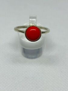 Gorgeous Real Red Coral Stone Ring 925 Solid Silver Size R1/2~S #10026