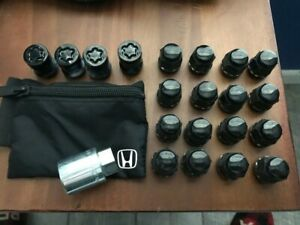 GENUINE HONDA ACURA OEM 20pc Locks & Lug Nut set 19mm 12x1.5mm Shorts BLACK!