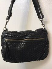 LANGELLOTTI Black Woven Shoulder Crossbody Tassel Bag -VINTAGE