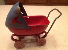 Vintage Wyandotte Toy Mini Baby Carriage Stroller Buggy Red Blue W/ Wood Wheels