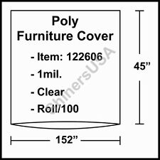 """1 mil Poly Furniture Covers 152""""x45"""" Clear - Roll/100 (122606)"""