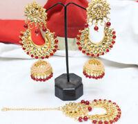 Red Pearl Jhumki Maang Tikka Earring Set Bollywood Indian Bridal Jewelry