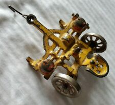 Antique Yellow Arcade Cast Iron Plow With Seat Farm Implement Toy 2-Tires 1930's