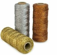 Bakers Twine Metalic Lurex Gold Silver Green Red or Copper 3ply - 1mm