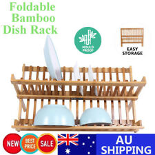 Foldable Wood Dish Drying Rack Bamboo Drainer Plate Holder Storage Plates Stand
