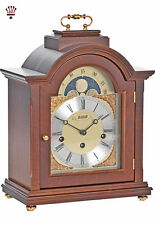 BilliB Linton Mantel Clock with Arched Top, Burl Accents, Chime in Walnut