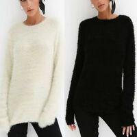 Womens Fluffy Fuzzy Casual Sweater Loose Pullover Jumper Long Tops Winter Blouse