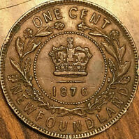 1876 NEWFOUNDLAND LARGE 1 CENT PENNY COIN - Excellent example!