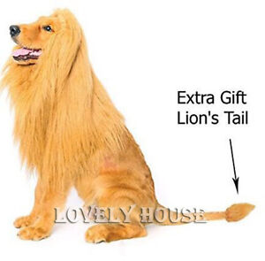 Pet Costume Lion Mane Wig Dog Halloween Clothes with Gift [Lion Tail] FancyDress