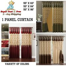 Luxury Embroidery Window Curtain Drapes With Valance Sheer Curtains 1pc Panel