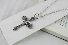1pcs Tibetan Silver Skull Cross Pendant Necklace