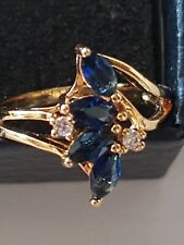 Yellow Gold Plated Simulated Sapphire & Diamante Ring Cubic Zirconia 4Gram 7.75