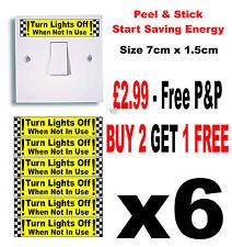 Si prega di spengono le luci quando non in uso-ADESIVI X 6 (RISPARMIO ENERGETICO) ID: lof1