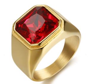 Men's 18-KP Gold Gemstone Ring- Red Garnet Zircon - Stainless Steel- SZ 7-15