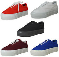 LADIES WOMENS ANKLE CREEPERS TRAINERS TOP CANVAS LACE UP FLAT SHOES SIZE 3-8 UK