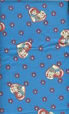 "OOP!!RAGGEDY ANN/ANDY SMALL HEARTS ON BLUE COTTON FABRIC FQ - 18""X22"""