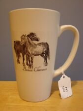 Two Horses WHITE TALL MUG 'Beaux Chevaux' Equestrian Inspired