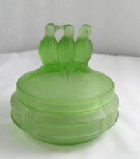 New ListingArt Deco Green Glass Three Birds Powder Jar Vanity Dish