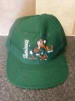 RETRO NCCA MIAMI HURRICANES VINTAGE GREEN CAP FRONT ROW COLLEGIATE LICENSED