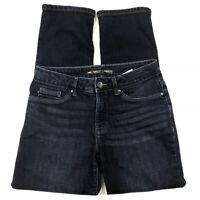 Lee Perfect Fit Jeans Size 8 Short  Straight Leg Embellished Pockets Dark Wash